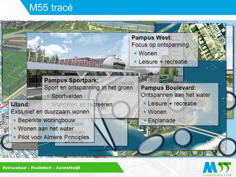 Betrouwbaar – Realistisch – Aantrekkelijk M55 tracé Pampus Centrum: Nieuw stadsdeelcentrum  Wonen  Werken  Leisure Pampus Centrum: Nieuw stadsdeelc