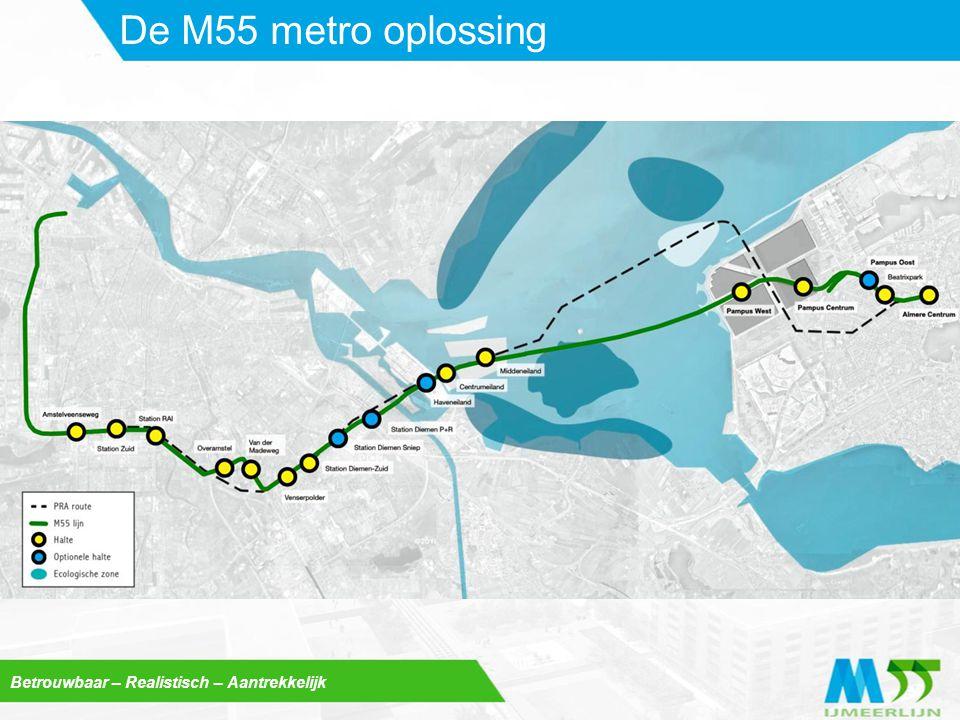 Betrouwbaar – Realistisch – Aantrekkelijk M55 is ingepast  Diemen: bundeling met NS-spoor + nieuwe fietsverbinding tussen Diemertrekvaart en IJburg  IJburg: woon- en leefklimaat onaangetast door ondergrondse passage  In Almere bovengronds door groene corridor op afstand van woningen  Almere-Centrum krijgt metrostation naast NS-station Uitstekende ruimtelijke inpassing
