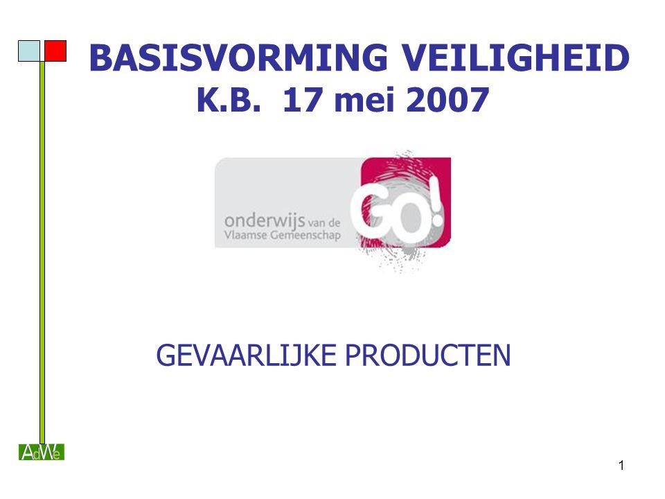 1 BASISVORMING VEILIGHEID K.B. 17 mei 2007 GEVAARLIJKE PRODUCTEN