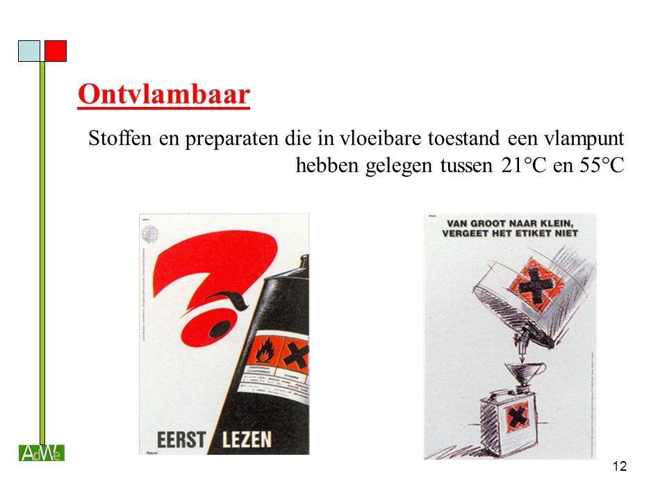 12 Ontvlambaar Stoffen en preparaten die in vloeibare toestand een vlampunt hebben gelegen tussen 21°C en 55°C