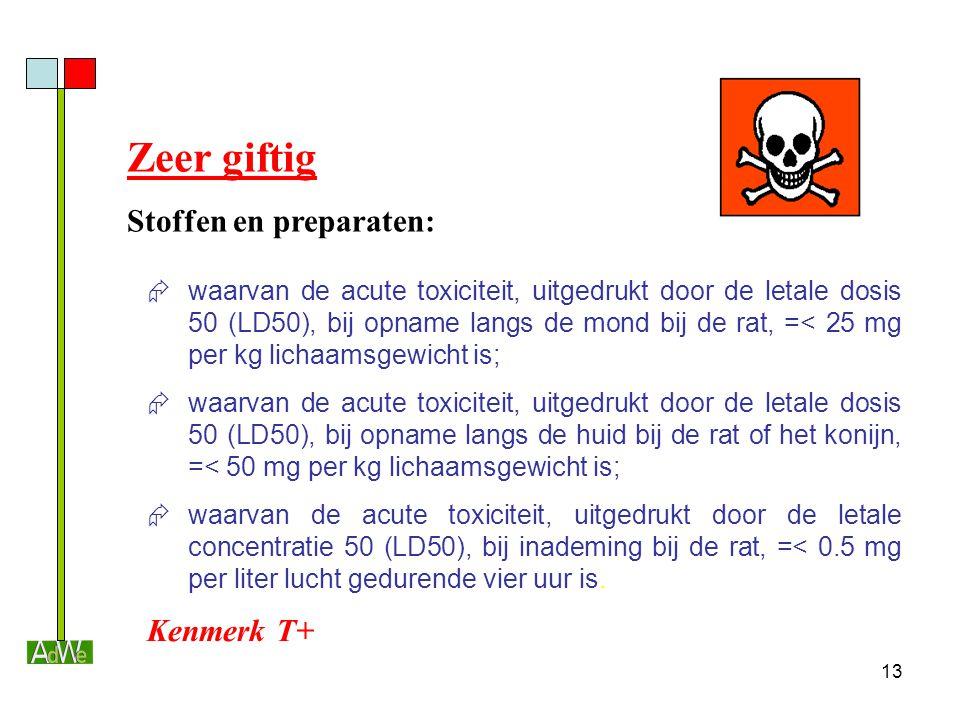 13  waarvan de acute toxiciteit, uitgedrukt door de letale dosis 50 (LD50), bij opname langs de mond bij de rat, =< 25 mg per kg lichaamsgewicht is;