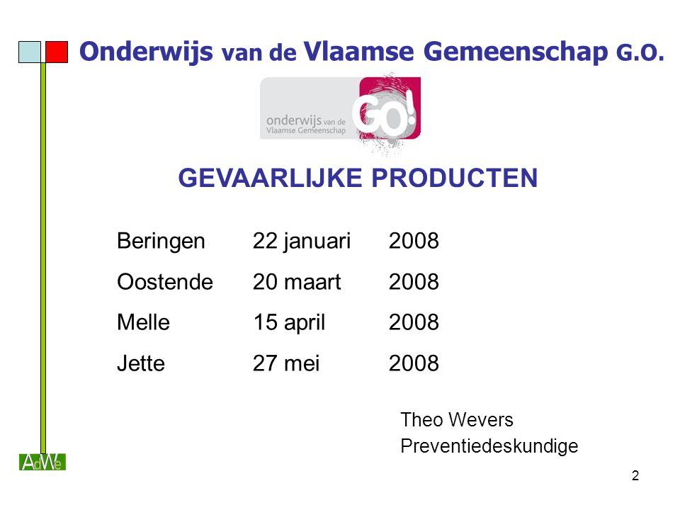 2 Onderwijs van de Vlaamse Gemeenschap G.O. GEVAARLIJKE PRODUCTEN Beringen22 januari2008 Oostende20 maart2008 Melle 15 april2008 Jette 27 mei2008 Theo