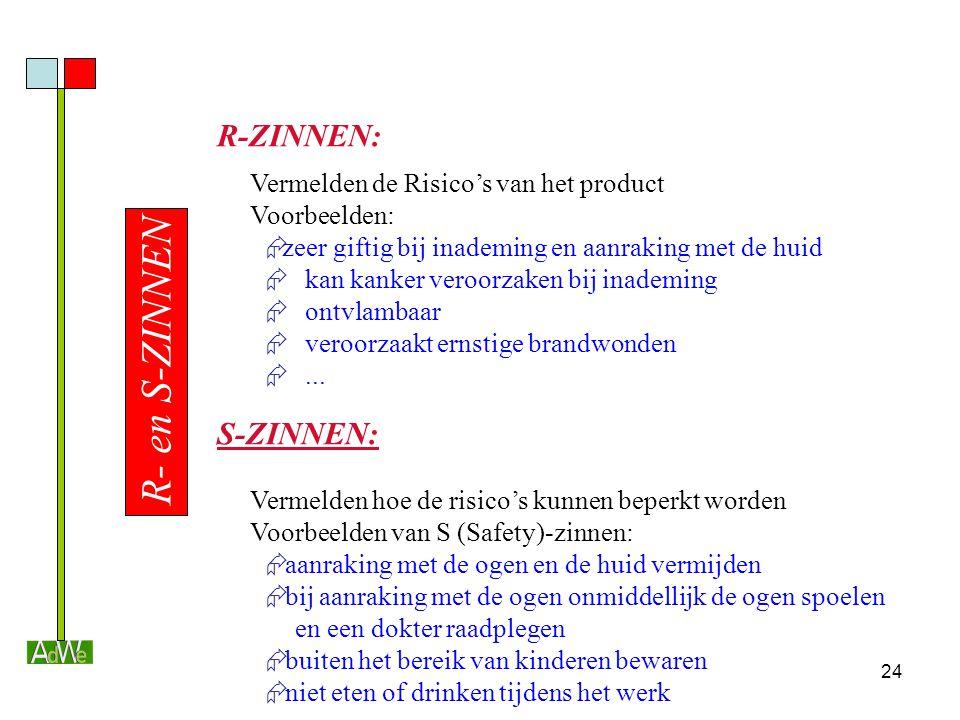 24 R- en S-ZINNEN R-ZINNEN: Vermelden de Risico's van het product Voorbeelden:  zeer giftig bij inademing en aanraking met de huid  kan kanker veroo