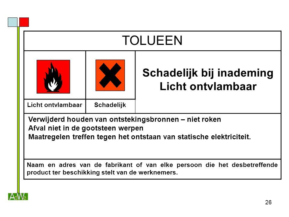 26 TOLUEEN Schadelijk bij inademing Licht ontvlambaar Schadelijk Verwijderd houden van ontstekingsbronnen – niet roken Afval niet in de gootsteen werp