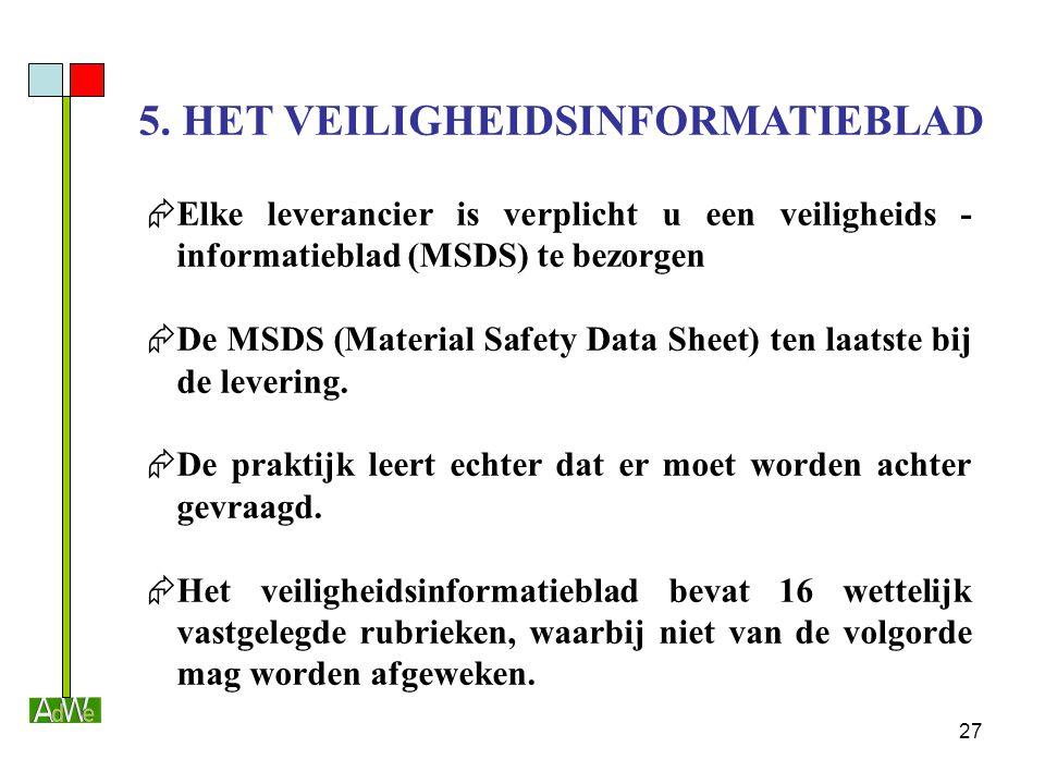 27 5. HET VEILIGHEIDSINFORMATIEBLAD  Elke leverancier is verplicht u een veiligheids - informatieblad (MSDS) te bezorgen  De MSDS (Material Safety D