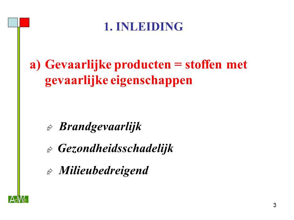 3 1. INLEIDING a)Gevaarlijke producten = stoffen met gevaarlijke eigenschappen  Brandgevaarlijk  Gezondheidsschadelijk  Milieubedreigend