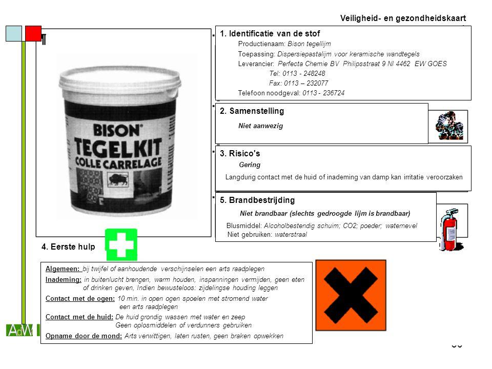 30 Veiligheid- en gezondheidskaart 1. Identificatie van de stof Productienaam: Bison tegellijm Toepassing: Dispersiepastalijm voor keramische wandtege