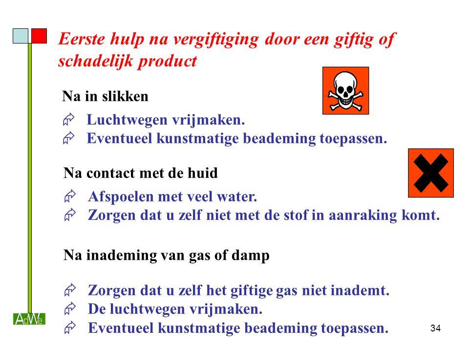34 Eerste hulp na vergiftiging door een giftig of schadelijk product  Luchtwegen vrijmaken.  Eventueel kunstmatige beademing toepassen. Na in slikke