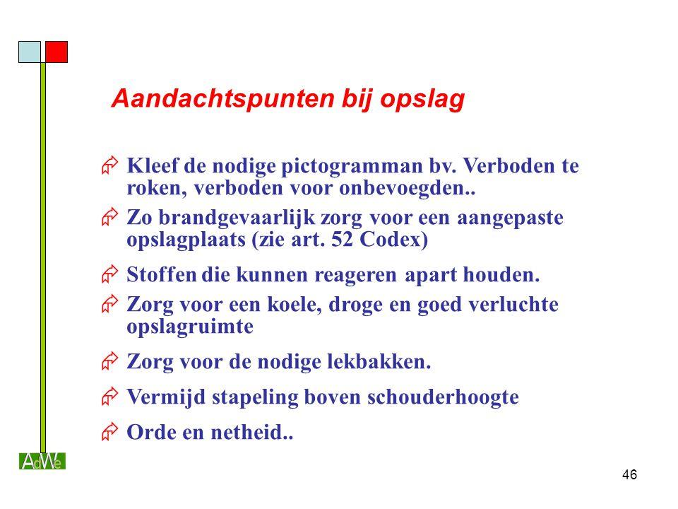 46 Aandachtspunten bij opslag  Kleef de nodige pictogramman bv. Verboden te roken, verboden voor onbevoegden..  Zo brandgevaarlijk zorg voor een aan