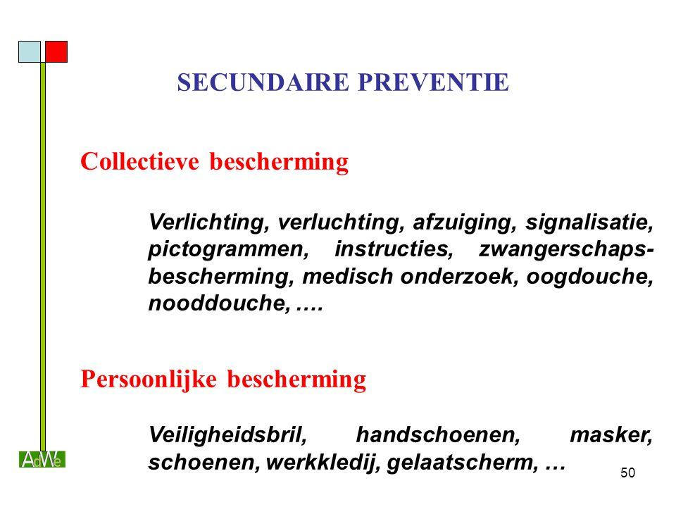 50 Collectieve bescherming Verlichting, verluchting, afzuiging, signalisatie, pictogrammen, instructies, zwangerschaps- bescherming, medisch onderzoek