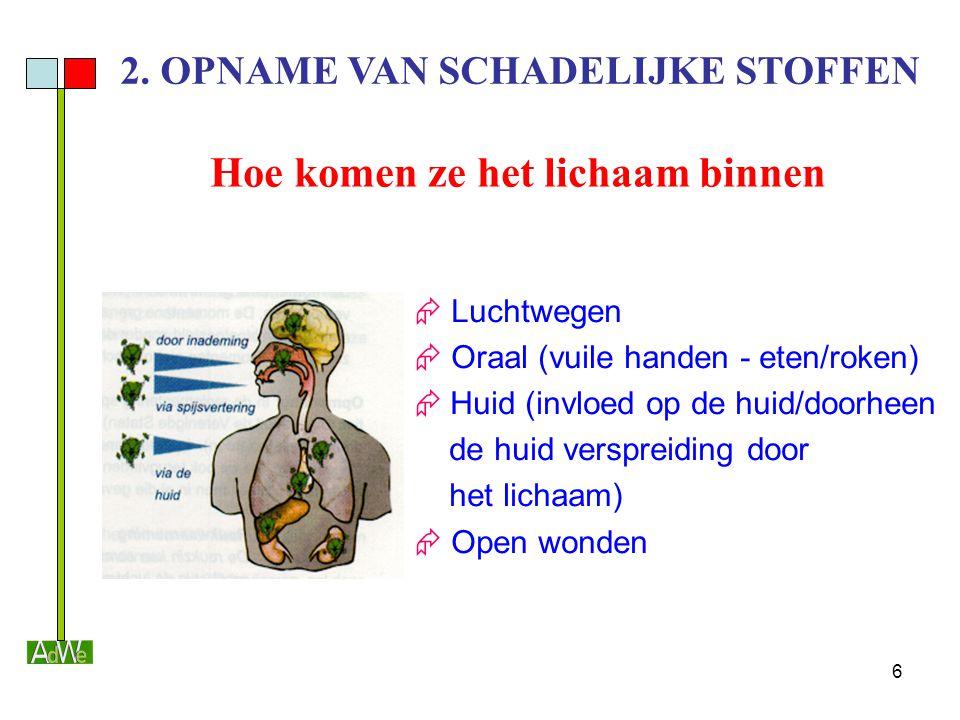 6 2. OPNAME VAN SCHADELIJKE STOFFEN Hoe komen ze het lichaam binnen  Luchtwegen  Oraal (vuile handen - eten/roken)  Huid (invloed op de huid/doorhe