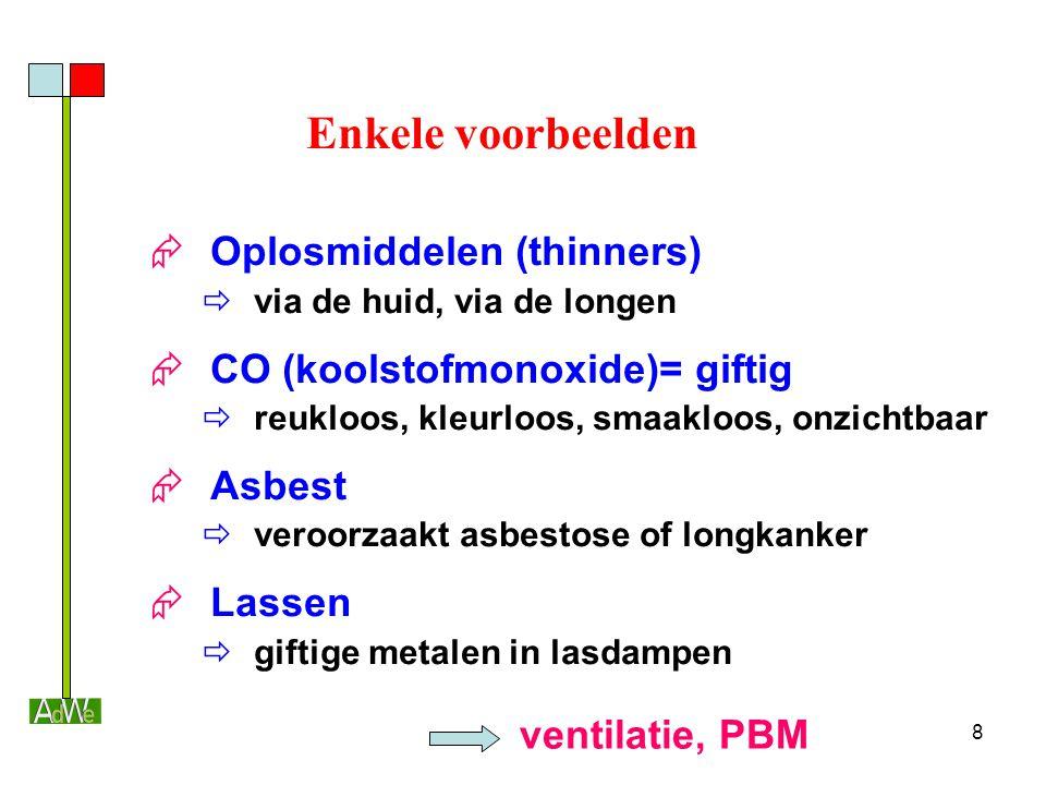 8 Enkele voorbeelden  Oplosmiddelen (thinners)  via de huid, via de longen  CO (koolstofmonoxide)= giftig  reukloos, kleurloos, smaakloos, onzicht