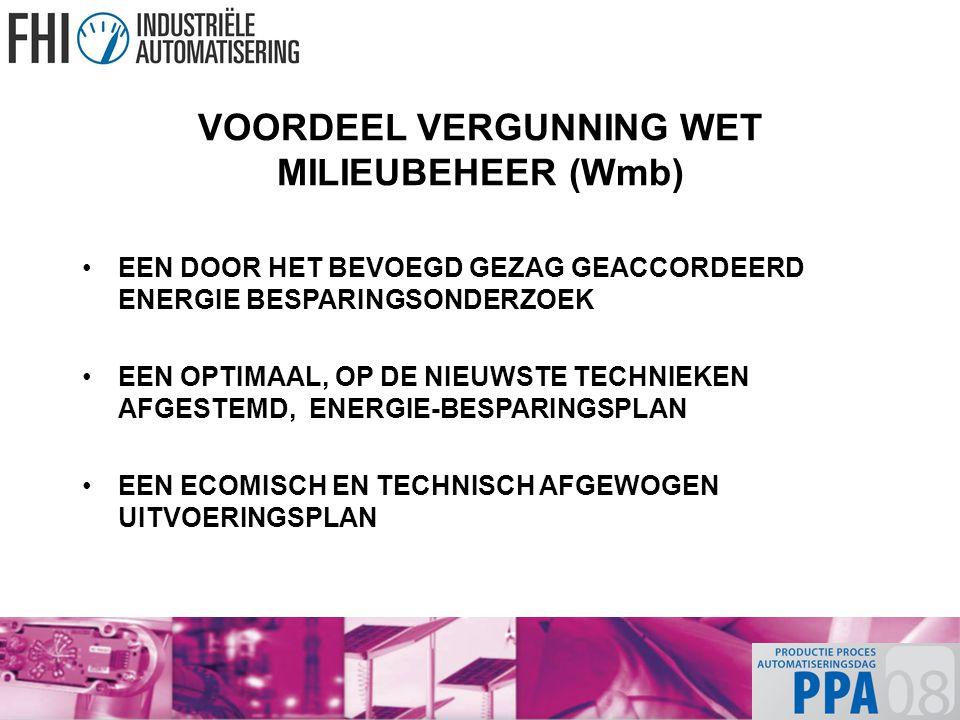 VOORDEEL VERGUNNING WET MILIEUBEHEER (Wmb) EEN DOOR HET BEVOEGD GEZAG GEACCORDEERD ENERGIE BESPARINGSONDERZOEK EEN OPTIMAAL, OP DE NIEUWSTE TECHNIEKEN AFGESTEMD, ENERGIE-BESPARINGSPLAN EEN ECOMISCH EN TECHNISCH AFGEWOGEN UITVOERINGSPLAN