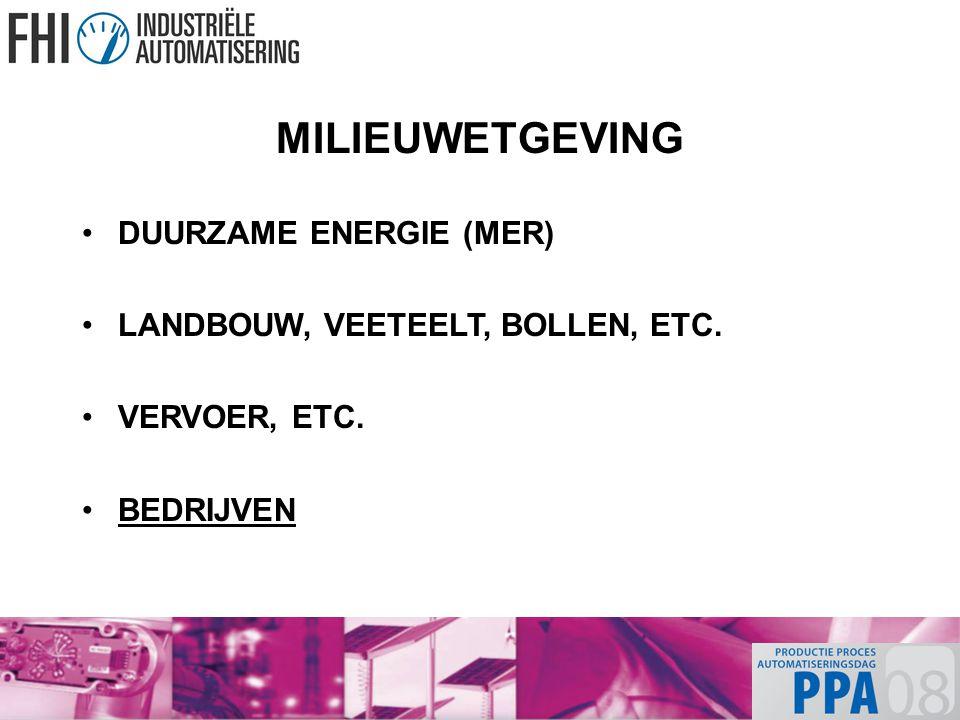 MILIEUWETGEVING DUURZAME ENERGIE (MER) LANDBOUW, VEETEELT, BOLLEN, ETC. VERVOER, ETC. BEDRIJVEN
