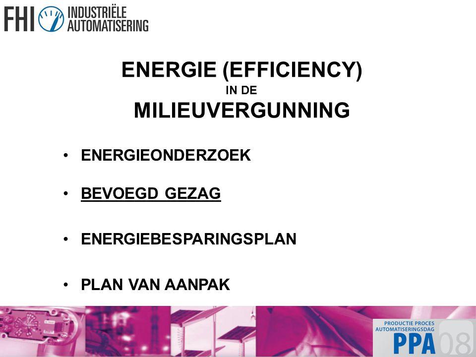 ENERGIE (EFFICIENCY) IN DE MILIEUVERGUNNING ENERGIEONDERZOEK BEVOEGD GEZAG ENERGIEBESPARINGSPLAN PLAN VAN AANPAK
