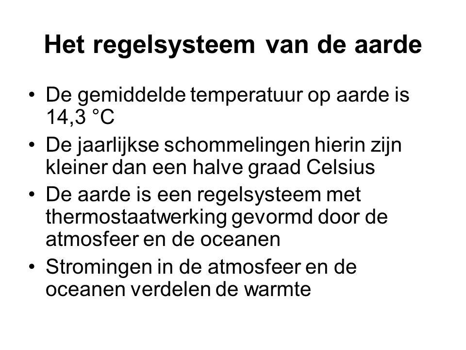Het regelsysteem van de aarde De gemiddelde temperatuur op aarde is 14,3 °C De jaarlijkse schommelingen hierin zijn kleiner dan een halve graad Celsius De aarde is een regelsysteem met thermostaatwerking gevormd door de atmosfeer en de oceanen Stromingen in de atmosfeer en de oceanen verdelen de warmte