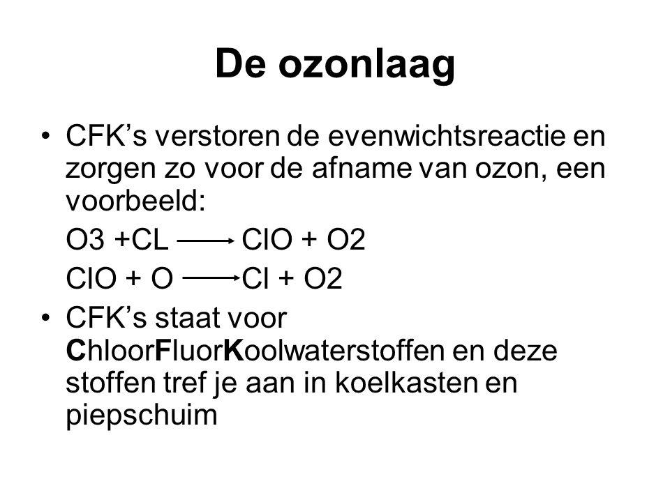 De ozonlaag CFK's verstoren de evenwichtsreactie en zorgen zo voor de afname van ozon, een voorbeeld: O3 +CLClO + O2 ClO + O Cl + O2 CFK's staat voor ChloorFluorKoolwaterstoffen en deze stoffen tref je aan in koelkasten en piepschuim