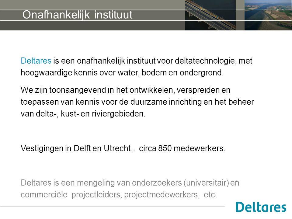 Onafhankelijk instituut Deltares is een onafhankelijk instituut voor deltatechnologie, met hoogwaardige kennis over water, bodem en ondergrond.