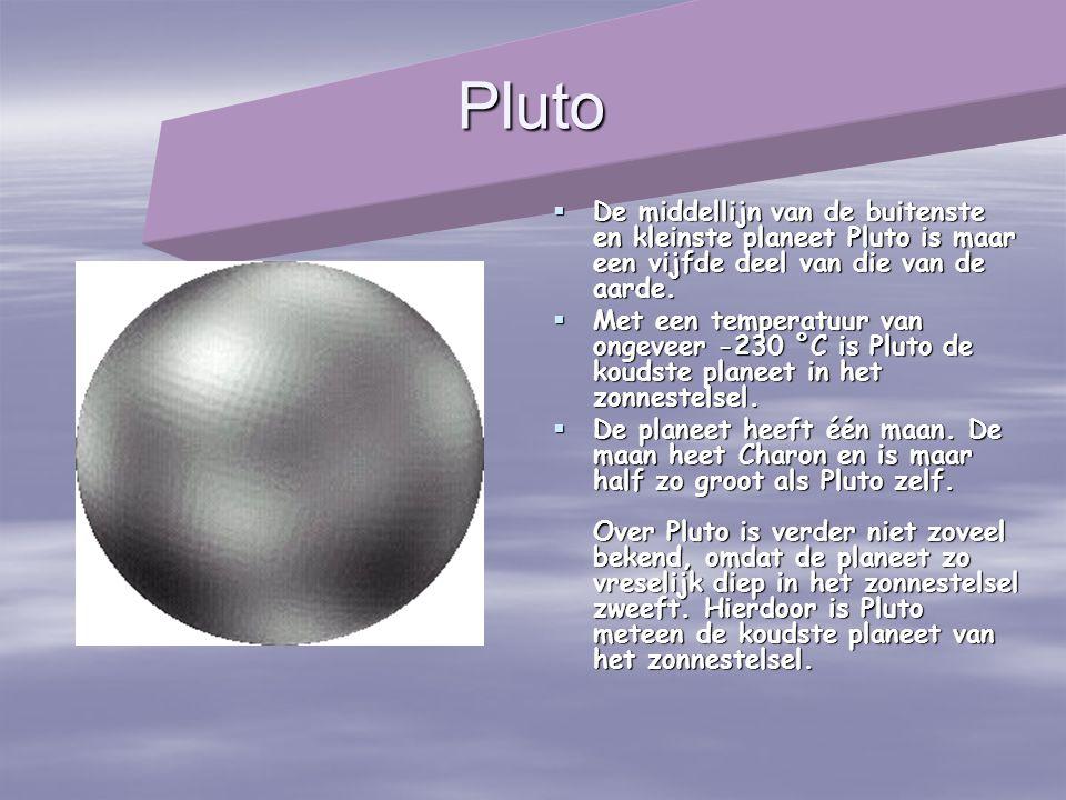 Pluto  De middellijn van de buitenste en kleinste planeet Pluto is maar een vijfde deel van die van de aarde.  Met een temperatuur van ongeveer -230