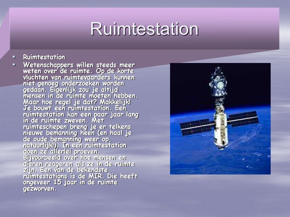 Ruimtestation  Ruimtestation  Wetenschappers willen steeds meer weten over de ruimte. Op de korte vluchten van ruimtevaarders kunnen niet genoeg ond