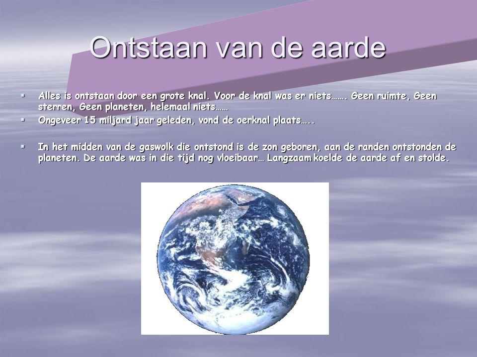 Ontstaan van de aarde  Alles is ontstaan door een grote knal. Voor de knal was er niets……. Geen ruimte, Geen sterren, Geen planeten, helemaal niets……