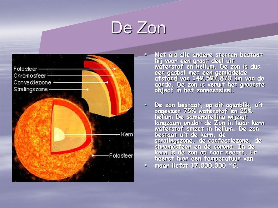 De Zon  Net als alle andere sterren bestaat hij voor een groot deel uit waterstof en helium. De zon is dus een gasbol met een gemiddelde afstand van