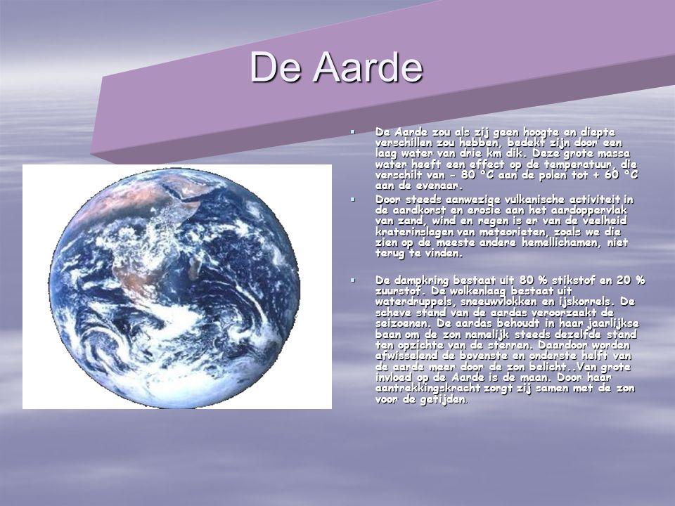 De Aarde  De Aarde zou als zij geen hoogte en diepte verschillen zou hebben, bedekt zijn door een laag water van drie km dik. Deze grote massa water