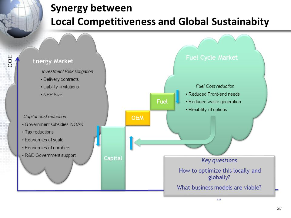 Fuel Cycle Market Synergy between Local Competitiveness and Global Sustainabity 28 Energy Market Capital O&M Fuel COE Capital cost reduction Government subsidies NOAK Tax reductions Economies of scale Economies of numbers R&D Government support Investment Risk Mitigation Delivery contracts Liability limitations NPP Size Fuel Cost reduction Reduced Front-end needs Reduced waste generation Flexibility of options Key questions How to optimize this locally and globally.