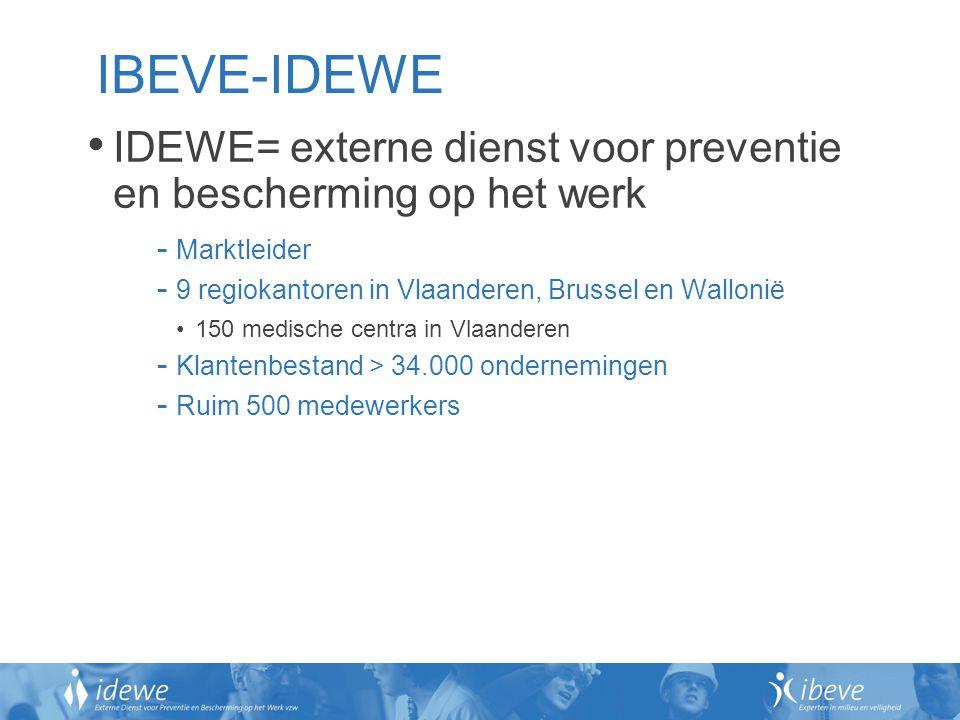 IBEVE-IDEWE IDEWE= externe dienst voor preventie en bescherming op het werk - Marktleider - 9 regiokantoren in Vlaanderen, Brussel en Wallonië 150 med