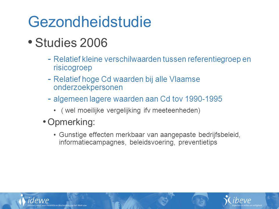 Gezondheidstudie Studies 2006 - Relatief kleine verschilwaarden tussen referentiegroep en risicogroep - Relatief hoge Cd waarden bij alle Vlaamse onde