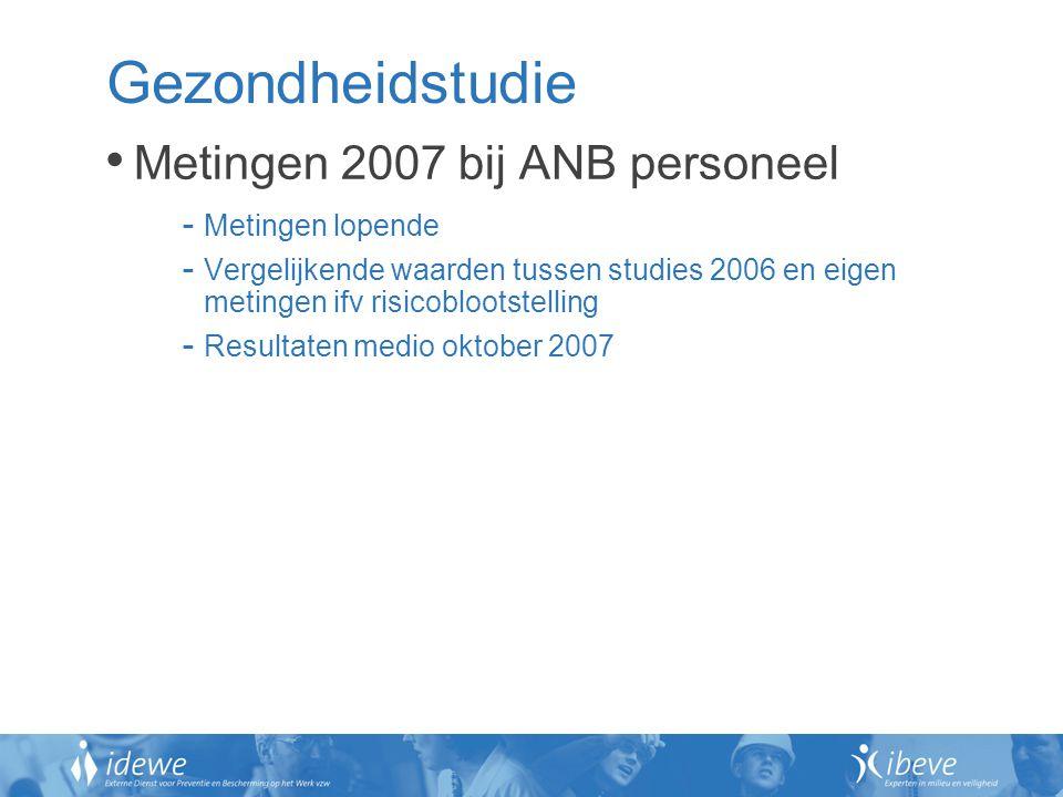 Gezondheidstudie Metingen 2007 bij ANB personeel - Metingen lopende - Vergelijkende waarden tussen studies 2006 en eigen metingen ifv risicoblootstell