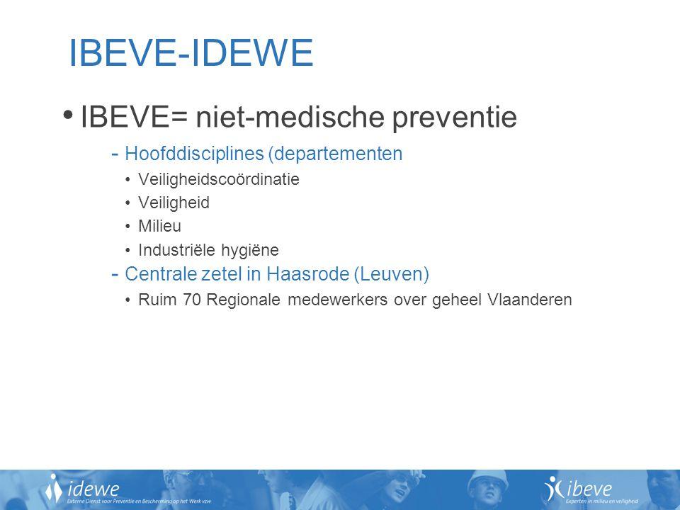IBEVE-IDEWE IBEVE= niet-medische preventie - Hoofddisciplines (departementen Veiligheidscoördinatie Veiligheid Milieu Industriële hygiëne - Centrale z