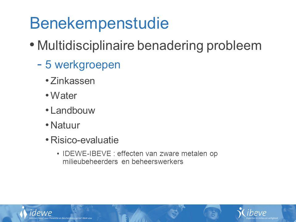 Benekempenstudie Multidisciplinaire benadering probleem - 5 werkgroepen Zinkassen Water Landbouw Natuur Risico-evaluatie IDEWE-IBEVE : effecten van zw