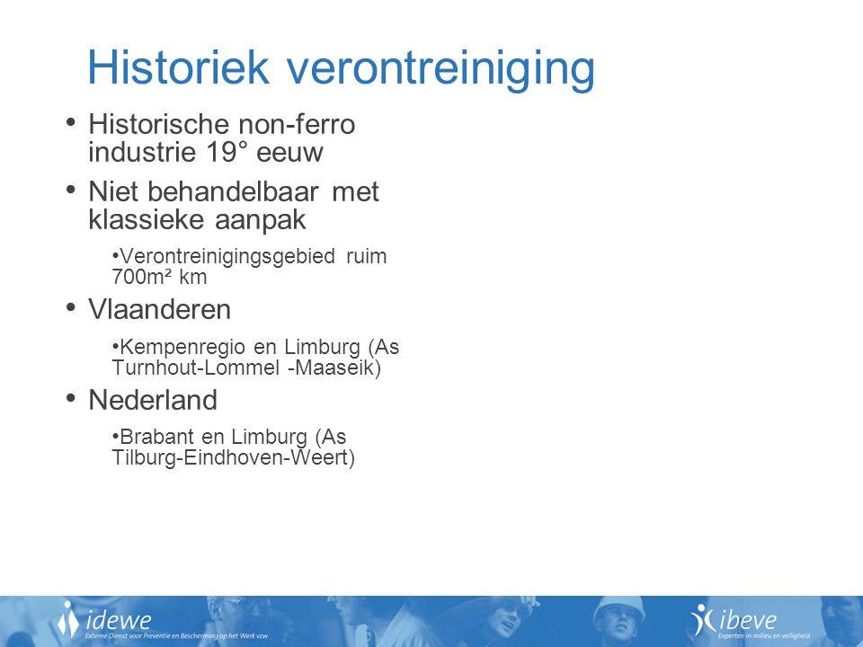 Historiek verontreiniging Historische non-ferro industrie 19° eeuw Niet behandelbaar met klassieke aanpak Verontreinigingsgebied ruim 700m² km Vlaande
