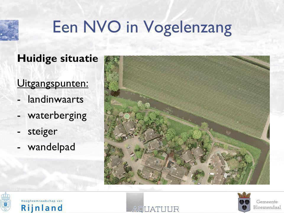 14 Een NVO in Vogelenzang Huidige situatie Uitgangspunten: -landinwaarts -waterberging -steiger -wandelpad Gemeente Bloemendaal