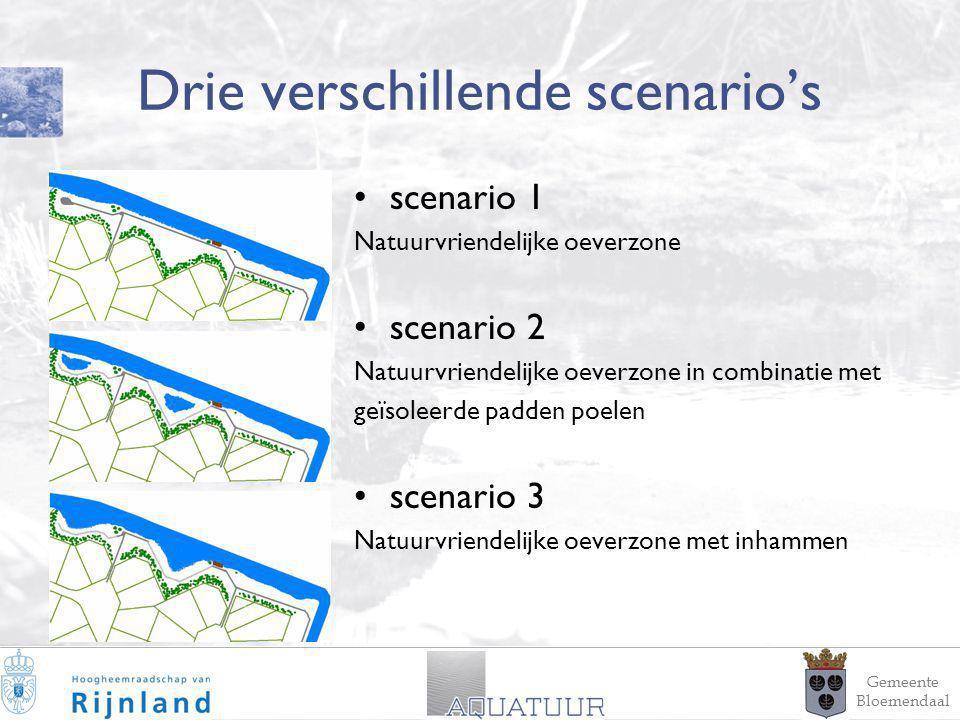 16 Drie verschillende scenario's scenario 1 Natuurvriendelijke oeverzone scenario 2 Natuurvriendelijke oeverzone in combinatie met geïsoleerde padden poelen scenario 3 Natuurvriendelijke oeverzone met inhammen Gemeente Bloemendaal