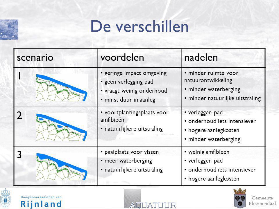 17 De verschillen Gemeente Bloemendaal scenariovoordelennadelen 1 geringe impact omgeving geen verlegging pad vraagt weinig onderhoud minst duur in aa