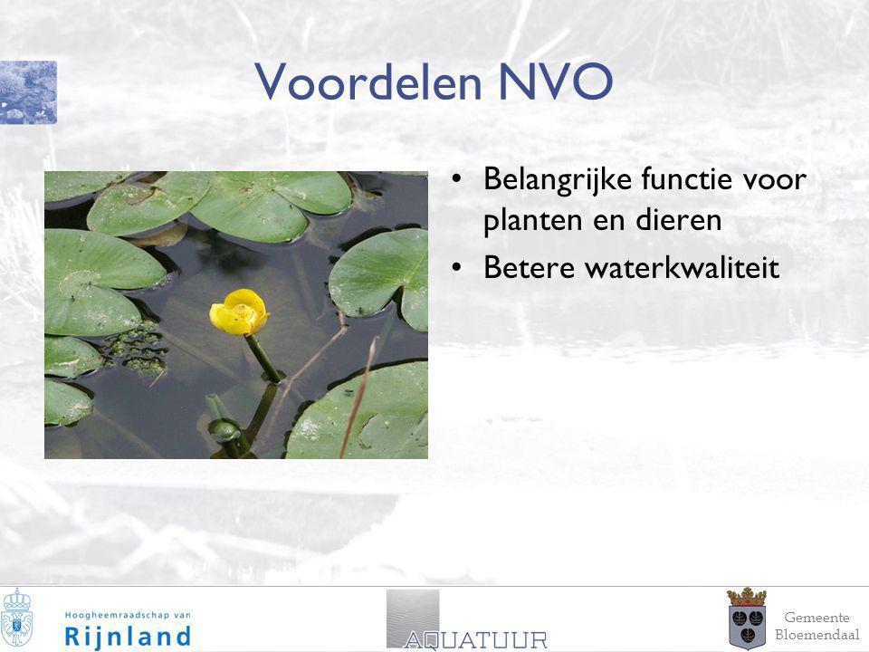 7 Voordelen NVO Belangrijke functie voor planten en dieren Betere waterkwaliteit Gemeente Bloemendaal