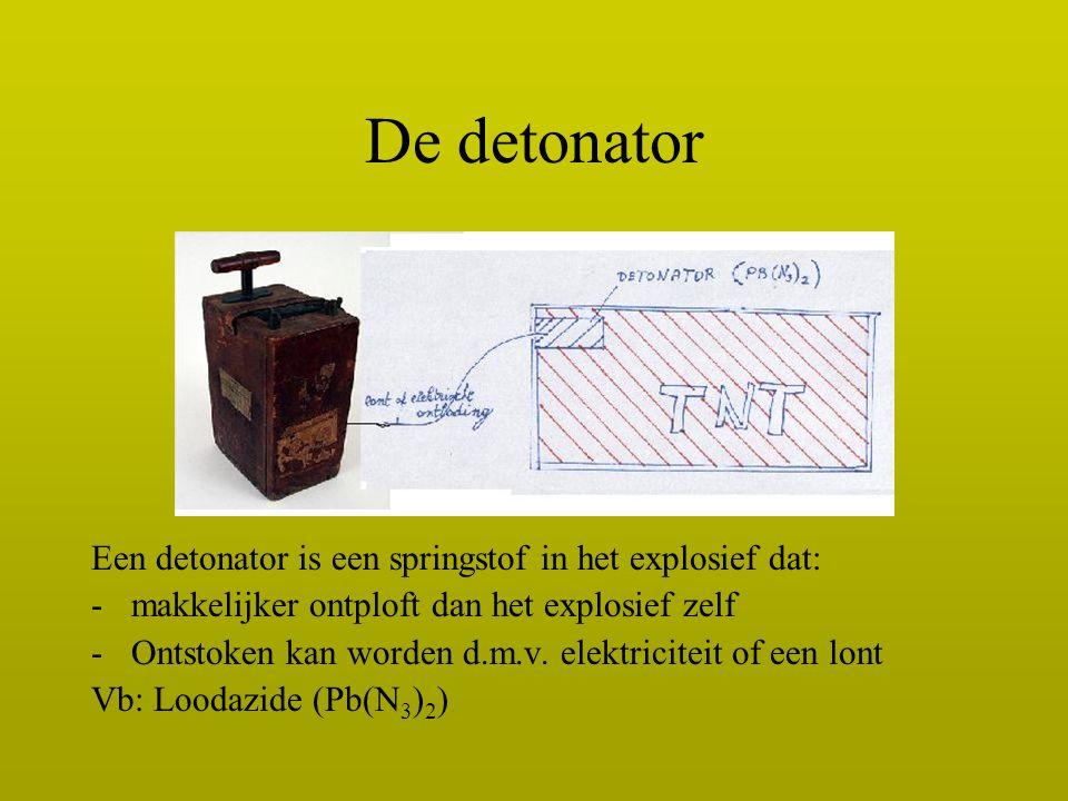 De detonator Een detonator is een springstof in het explosief dat: -makkelijker ontploft dan het explosief zelf -Ontstoken kan worden d.m.v. elektrici