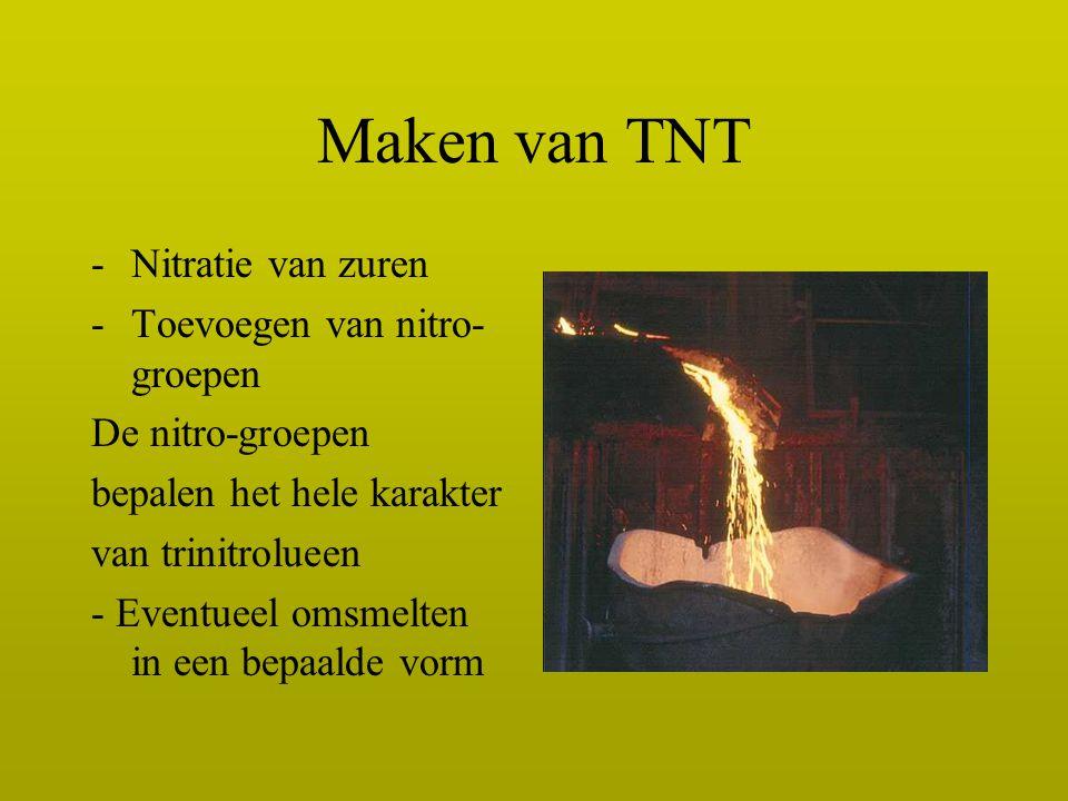Maken van TNT -Nitratie van zuren -Toevoegen van nitro- groepen De nitro-groepen bepalen het hele karakter van trinitrolueen - Eventueel omsmelten in