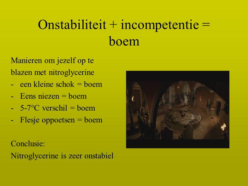 Onstabiliteit + incompetentie = boem Manieren om jezelf op te blazen met nitroglycerine -een kleine schok = boem -Eens niezen = boem -5-7°C verschil =