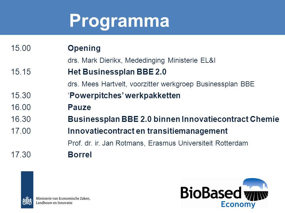 15.00 Opening drs. Mark Dierikx, Mededinging Ministerie EL&I 15.15Het Businessplan BBE 2.0 drs. Mees Hartvelt, voorzitter werkgroep Businessplan BBE 1