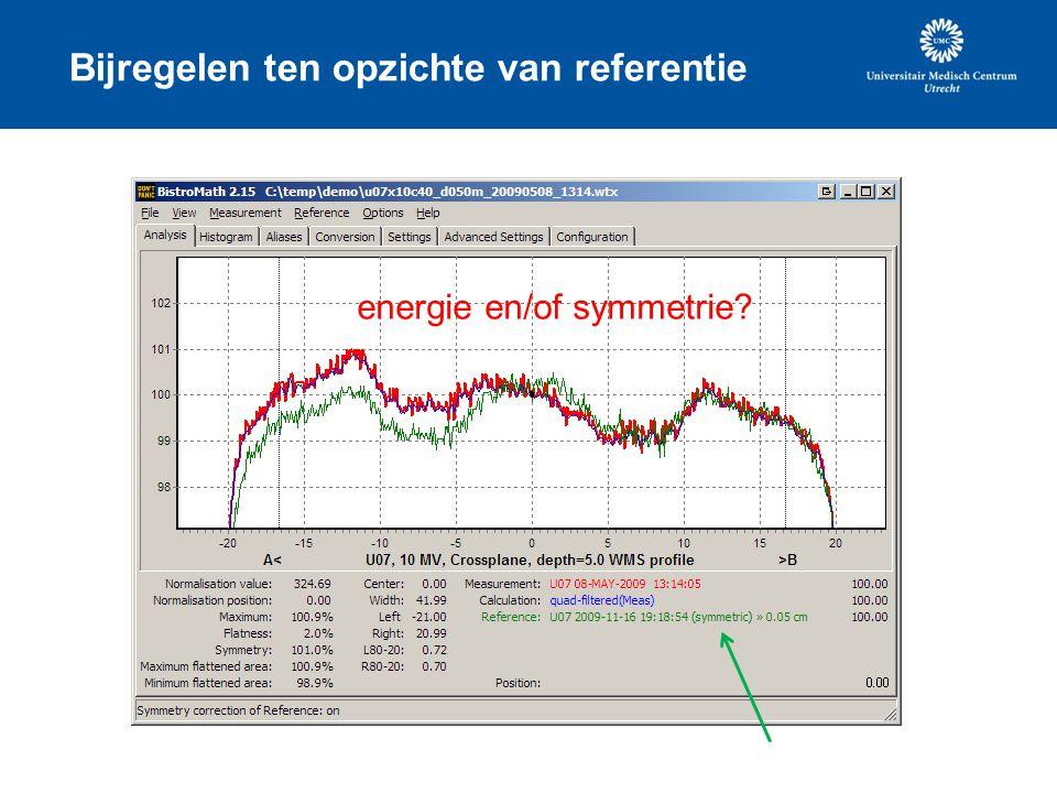 Bijregelen ten opzichte van referentie energie en/of symmetrie?