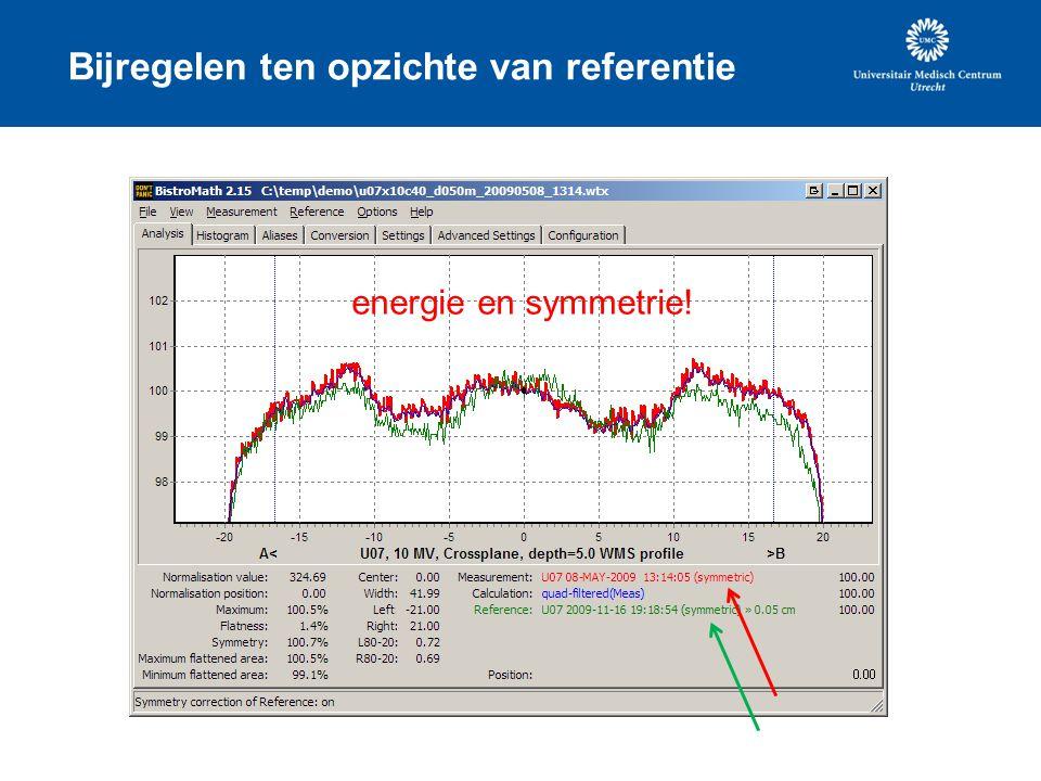 Bijregelen ten opzichte van referentie energie en symmetrie!