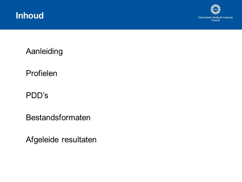 Inhoud Aanleiding Profielen PDD's Bestandsformaten Afgeleide resultaten