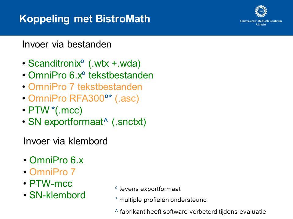 Koppeling met BistroMath Invoer via bestanden Scanditronixº (.wtx +.wda) OmniPro 6.xº tekstbestanden OmniPro 7 tekstbestanden OmniPro RFA300º* (.asc)
