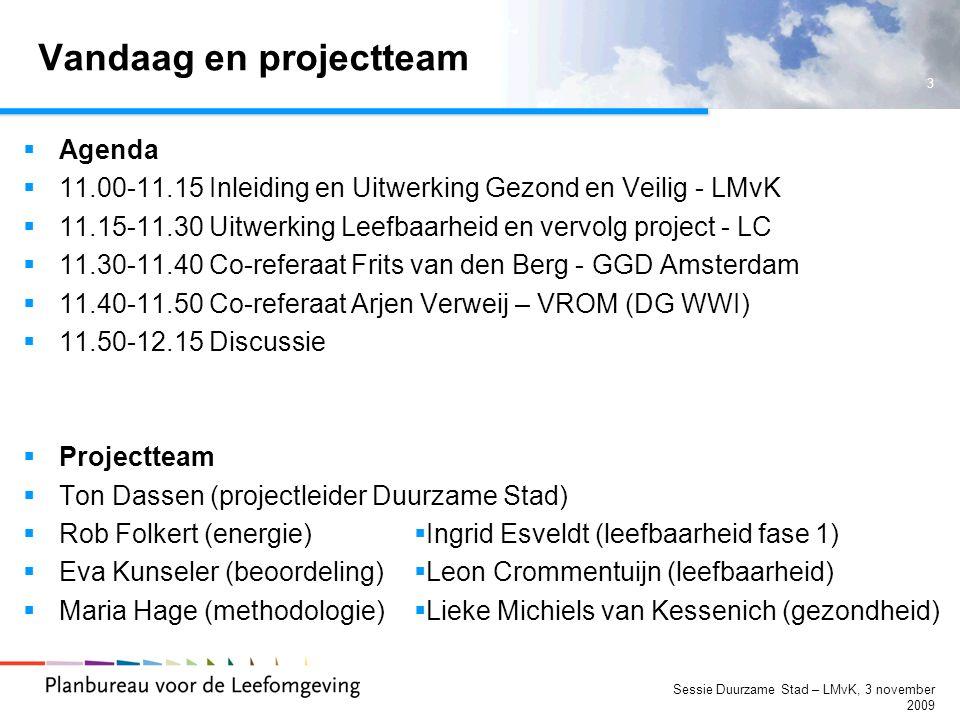 4 Sessie Duurzame Stad – LMvK, 3 november 2009 Stakeholder dialoog  Participatief  Complex  Governance  Backcasting  Verder dan trends van vandaag  Tweede generatie backcasting