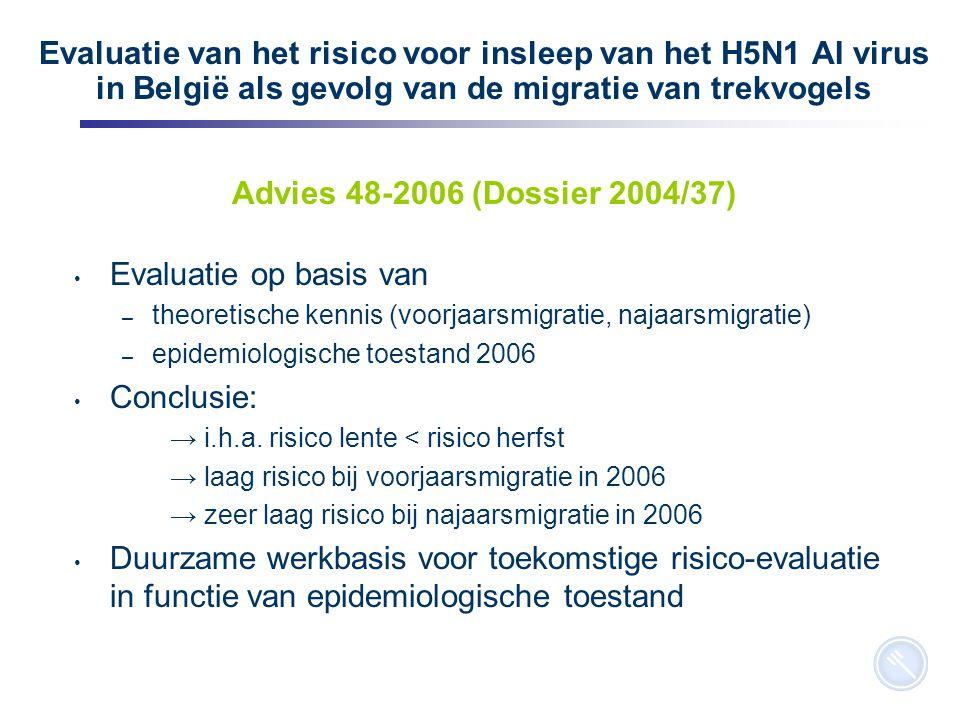 10 Evaluatie van het risico voor insleep van het H5N1 AI virus in België als gevolg van de migratie van trekvogels Advies 48-2006 (Dossier 2004/37) Evaluatie op basis van – theoretische kennis (voorjaarsmigratie, najaarsmigratie) – epidemiologische toestand 2006 Conclusie: → i.h.a.