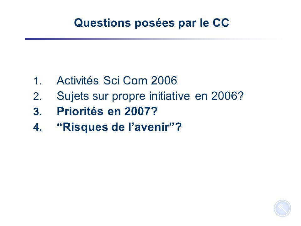 14 Questions posées par le CC 1. Activités Sci Com 2006 2.