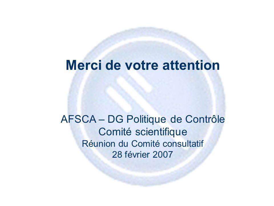 18 Merci de votre attention AFSCA – DG Politique de Contrôle Comité scientifique Réunion du Comité consultatif 28 février 2007